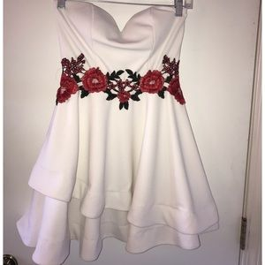 White Strapless Dress with Floral Detail